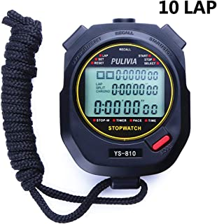 PULIVIA Sports Stopwatch Timer Lap Split Memory Digital Stopwatch,  Countdown Timer Pace Mode 12/24 Hour Clock Calendar with Alarm,  3 Rows Display Large Screen Water Resistant Battery Included