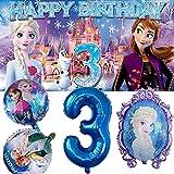 Frozen 3rd Party Supplies Elsa Frozen Girl Third Three   Decorations   Banner   Backdrop   Balloons   Birthday   Set   Decor