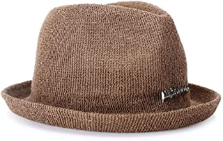 SHENLIJUAN Simple and Fashionable Cotton and Linen Knit Ladies hat Foldable Travel hat (Color : Coffee, Size : 57cm)