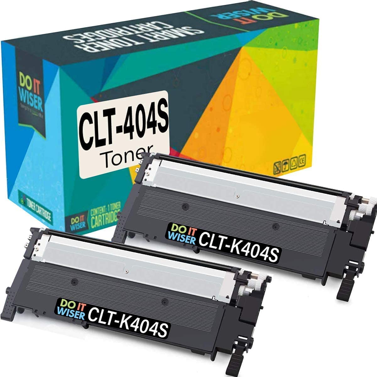 Do it Wiser Compatible Toner Cartridge Replacement for Samsung 404 404S CLT-K404S to use with Xpress C430 C430W C480 C480FW Xpress SL-C430W SL-C480FW Printer tray (Black, 2 Pack)