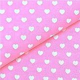 0,5m Stoff Herzen rosa-weiß Baumwolle Meterware Herz