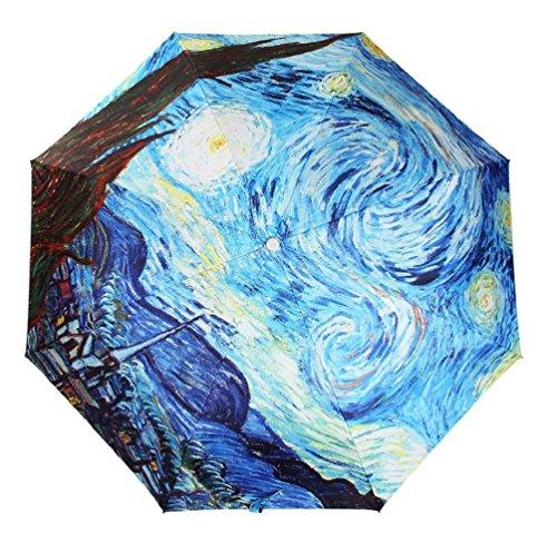 GMM Peinture à l'huile Nuit esperes Pliant Soleil/Pluie Parapluie Pliant, 3 Parasol Parapluie pour Les Femmes