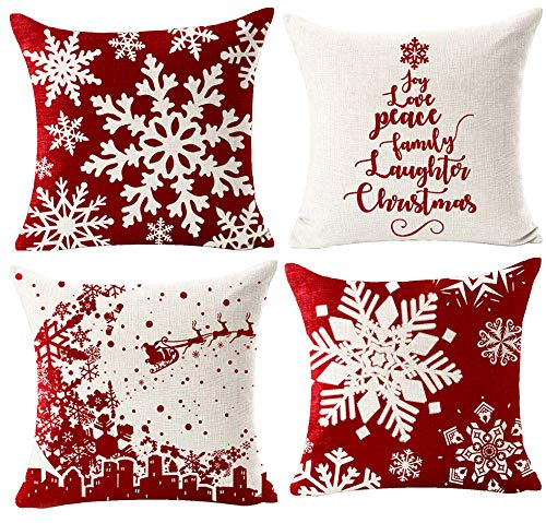 ITFRO Pack of 4 Merry Christmas Joy Peace Faith Love Believe Santa Claus Deer Balls Snowflakes Trees Floral Pattern Body Red Burlap Pillow Case Cushion Cover Party Bedroom Decorative Square 18 Inches