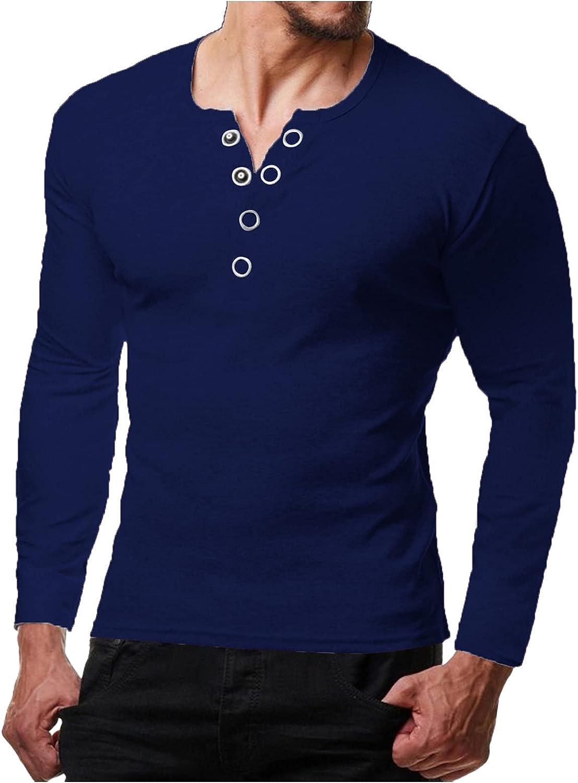 JSPOYOU Men's Baggy Henley Shirt Casual Slim Fit Basic Tops Long Sleeve Cotton Lightweight Henleys T-Shirt Plus Size M-3XL