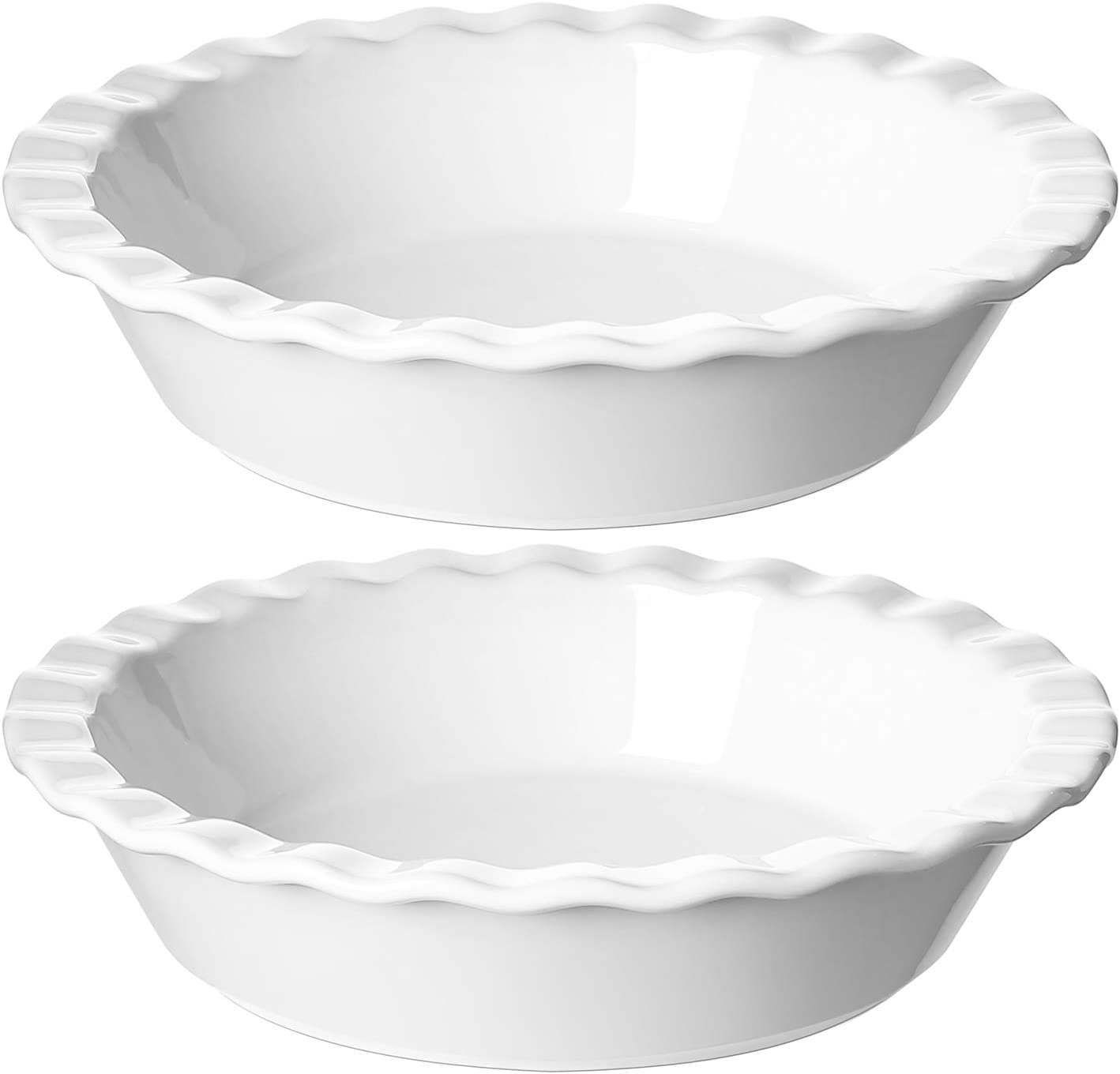 LE TAUCI Ceramic Pie Pans Plate for Baking, 9 inch Deep Dish Baking Dish, 52 ounce Bakeware for Apple Pecan Pie, Set of 2, White