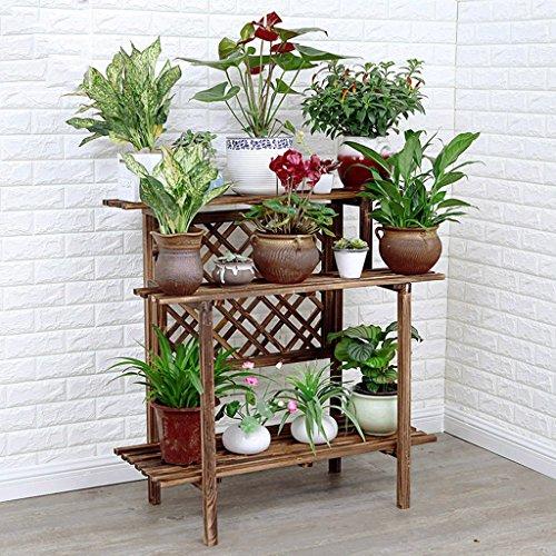 Stand de fleurs stand de plantes à plusieurs étages en bois massif étage balcon salon fleur stand coupé le violet bois étagère de fleurs de marguerite solide fort bonne(Size : 96x45x97cm)