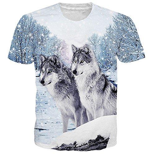 Idgretim Frauen Männer 3D Gedruckt Zwei Wolf Kurzarm T-Shirt für Jungen