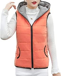 Womens Zipper Sleeveless Hooded Outwear Winter Sleeveless Puffer Down Vest Coats