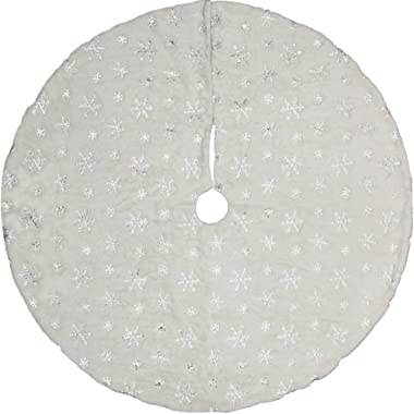 Meriwoods Christmas Tree Skirt, 48 inches Large Luxury Thick Xmas Decorations, White Plush Faux Fur with Silver Sequin Snowflakes