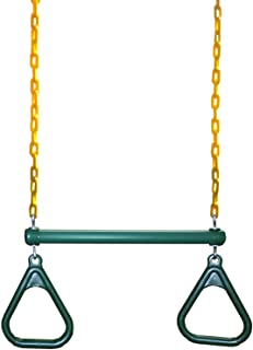 "Eastern Jungle Gym Heavy-Duty Ring Trapeze Bar Combo Swing ,Large 20"" Trapeze Bar with Coated Swing Chains 43"" Long"
