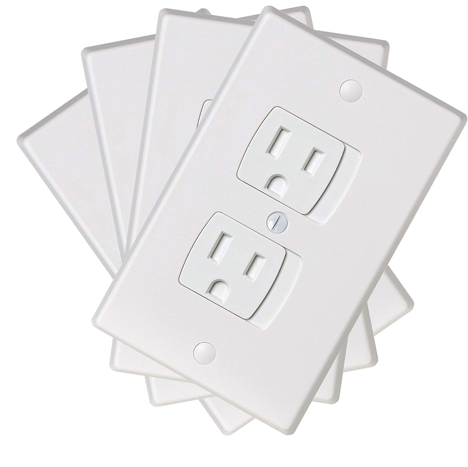 Ziz Home Self-Closing Childproof Outlet Covers | 4 Pack | White | Universal Electric Outlet Cover - Baby Proof Kit - Child Safety Wall Socket Plug - Durable ABS Plastic - Protection | Proofing