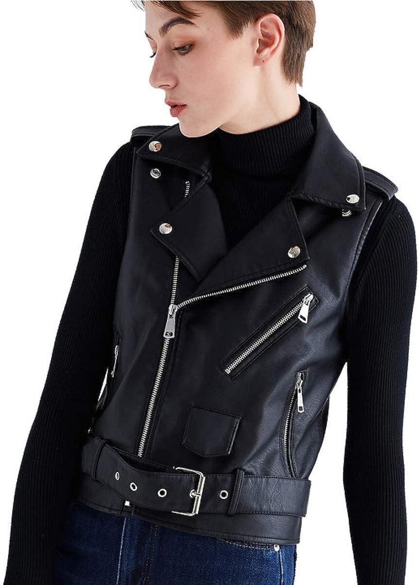 Women Black Leather Vest Motorcycle Biker Classic Faux Cowhide Carry Vintage Vest with Adjustable Belt