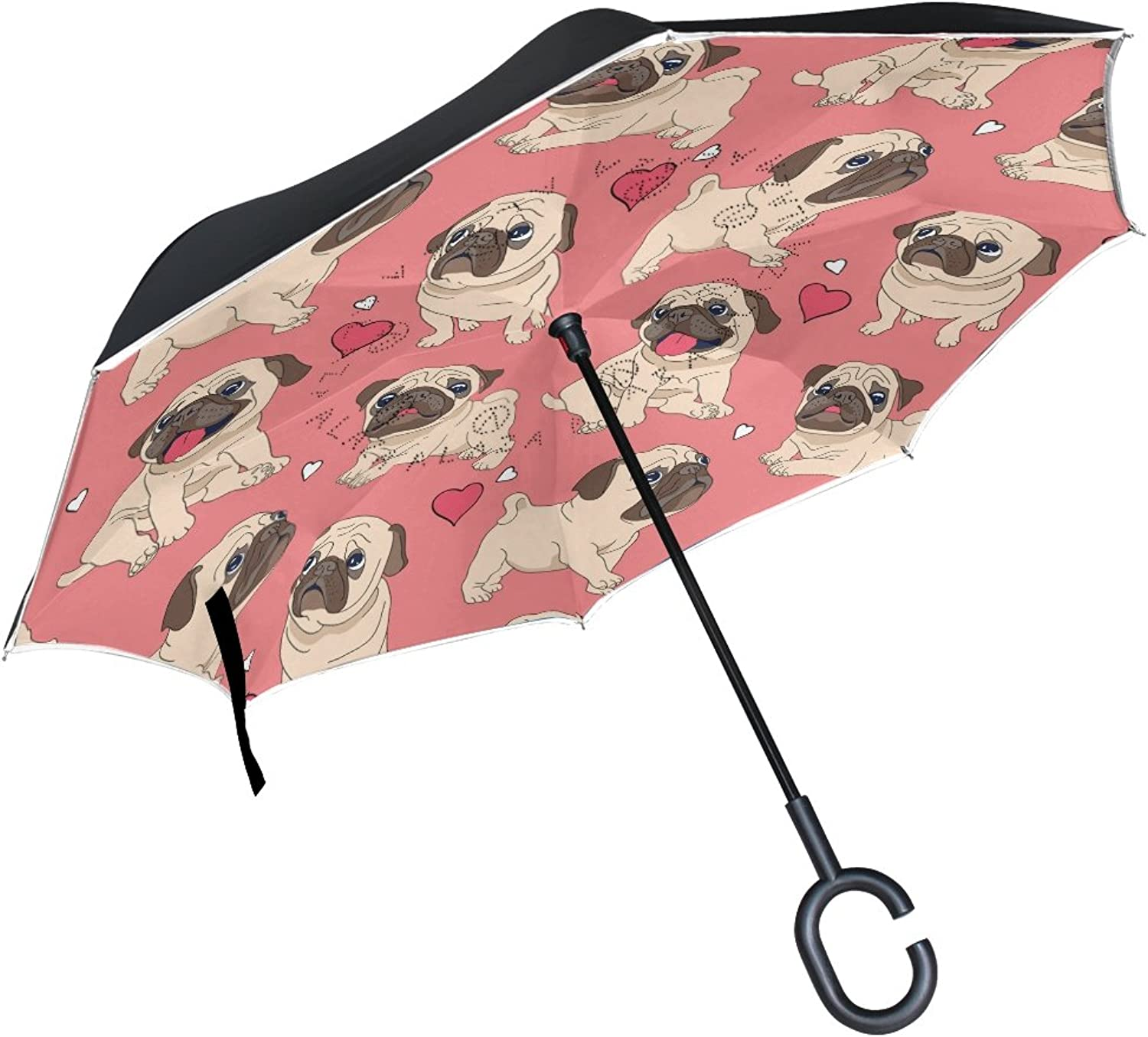 FOLPPLY Ingreened Umbrella Cute Pug Puppy Dog Pattern,Double Layer Reverse Umbrella Waterproof for Car Rain Outdoor with CShaped Handle