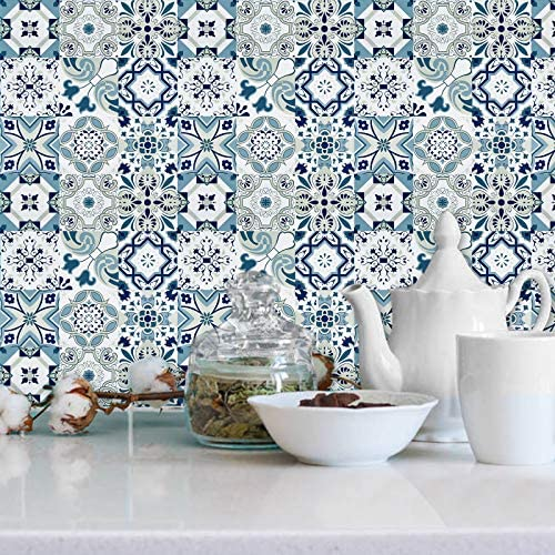 Wenmer Blue Tile Contact Paper 17 7 x 78 7 Mediterranean Bohemia Pattern Peel and Stick Wallpaper product image