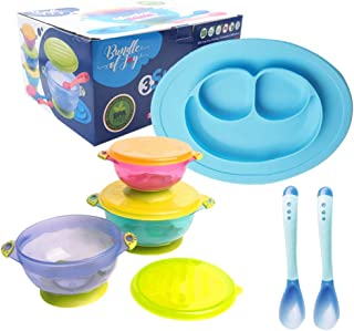 [ New Packaging ] Bundle of Joy Baby Feeding Set Best Suction Baby Bowl for Toddler Silicone Plate Two hot Safe Spoons – Toddler Baby Feeding Set - Baby Feeding Set BPA Free Silicone (Blue)