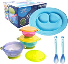 (Blue) - Bundle of Joy Feeding Set Best Suction Baby Bowl for Toddler Silicone Plate Two hot Safe Spoons - Toddler Baby Feeding Set - Baby Feeding Set BPA Free Silicone (Blue)