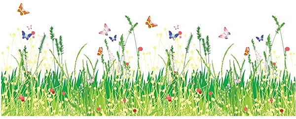 DNVEN Border 39 Inches X 14 Inches Spring Scenery Fresh Grasses Flowers Butterflies Baseboard Wall Stickers Kids Room Nursery Classroom Border Wall Decals Peel Stick Vinyl Home Decor