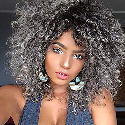 RunM Short Curly Afro Wigs for Black Women Ombre Grey Kinky Curly Hair Wigs with Bangs Synthetic Heat Resistant Full Wigs 14 Inches (Ombre Gray)