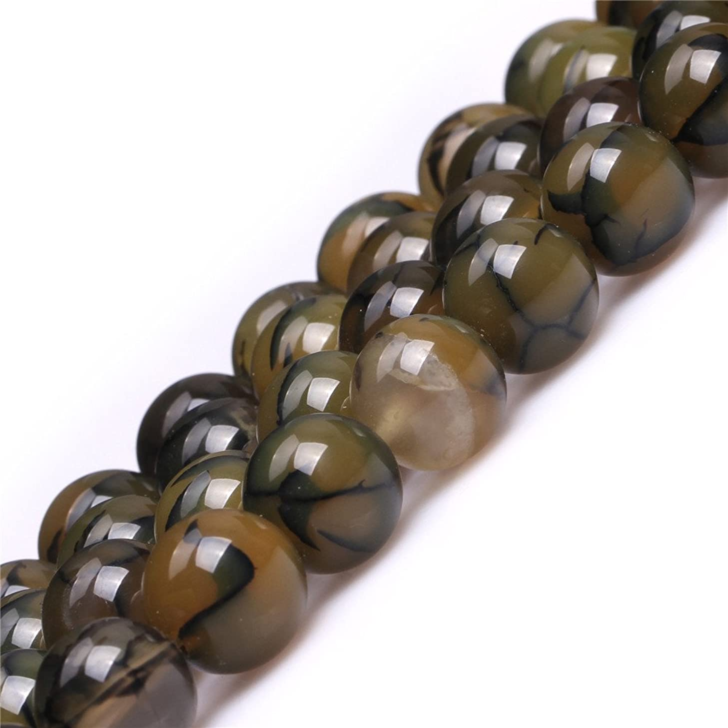 JOE FOREMAN 12mm Crackle Agate Semi Precious Gemstone Round Loose Beads for Jewelry Making Yellow Green DIY Handmade Craft Supplies 15