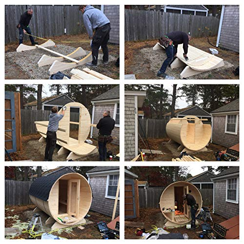BZBCabins.com W29, 4 Person Outdoor Sauna With Harvia M3 Wood Burning Heater