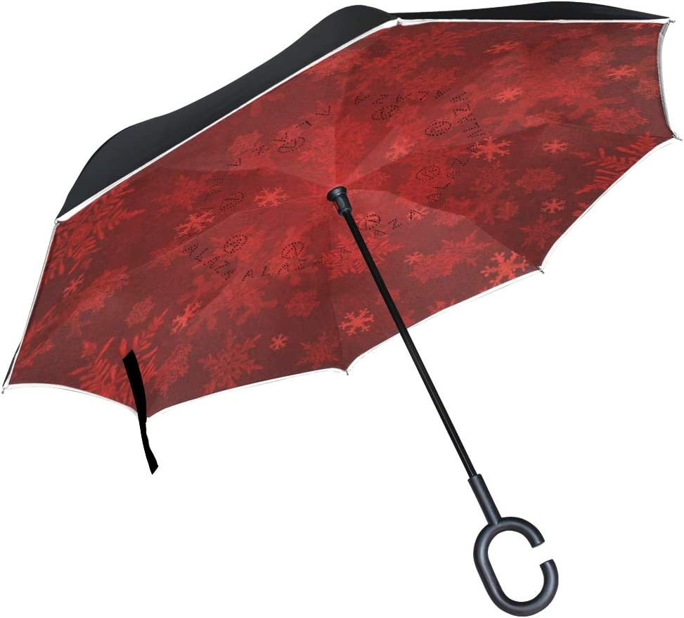 SLHFPX Reverse Umbrella Super popular specialty store Red Inver Snowflakes Windproof Christmas Max 56% OFF