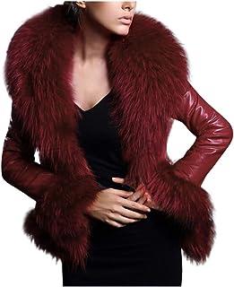 Aogo, giacca invernale da donna in pelliccia sintetica, caldo, corta, sottile e corta, in pelle
