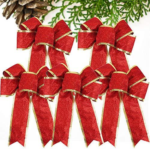 VINFUTUR 5pcs Weihnachtsschleifen Weihnachtsbaum Schleifen Deko Weihnachtsbaumschmuck für Weihnachtskranz Hochzeit Auto (Rot)