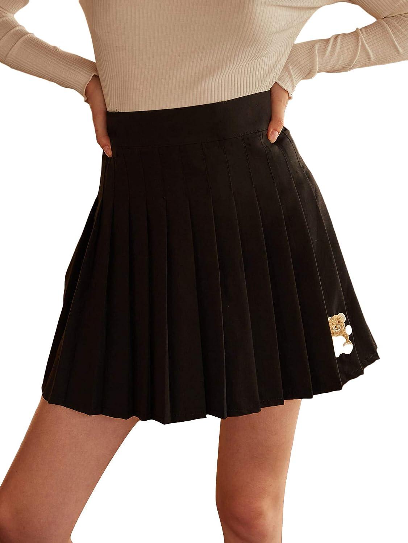 WDIRARA Women's Bear Embroidery Pleated High Waist Casual Skater Mini Skirt