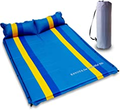 KAYOTA Lightweight Double Self Inflating Sleeping Pad with Pillow, Portable Moisture-Proof Comfortable Camping Mat for Hiking, Fishing, Backpacking and Outdoor Adventures