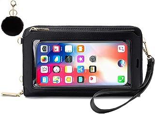 Geldbörse Damen Touchscreen Tasche Handy, Frauen Clutch Portemonnaie Groß Geldbeutel Lang Portmonee Handy Umhängetasche Cr...