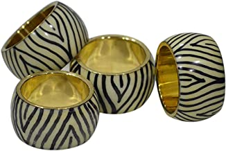 Indian Accent Metal Napkin Rings Black and White Smooth Finish Diameter 1.5