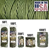 TOUGH-GRID 750lb Camo Green Paracord/Parachute Cord - Genuine Mil Spec Type IV...