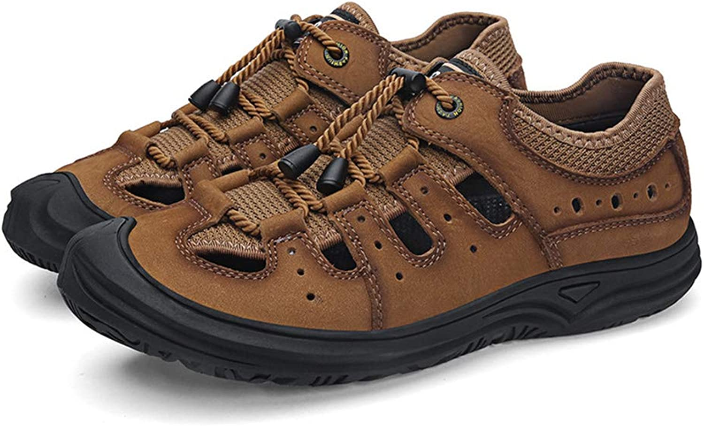 DYFAR Herren Sandalen Leder Flip Flop, Sport Sandalen Geschlossene Zehen Sandalen Outdoor Athletic Slides Wandern Fisherman Beach River Schuhe