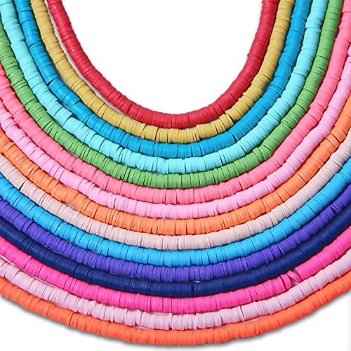 Simorce Kit de perlas para niño, pulsera elástica, fabricación de joyas para niños, perlas heishi, kit de bisuterí pendientes pulsera de hilo perla plana (15 Artículo)