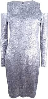 Womens Petites Cold Shoulder Metallic Cocktail Dress