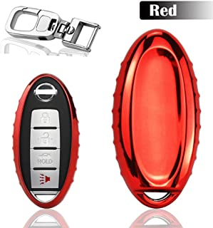 QBUC Car Key Cover for Nissan, 3 4 5 Button Case for Nissan Key Fob Cover with Key Chain, Replacement Key Fob for Infiniti Altima Maxima Murano and More (Red)