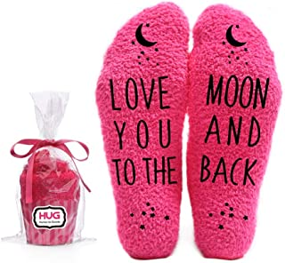 Love You to the Moon and Back Funny Socks - Cool Pink Fuzzy Novelty Cupcake Packaging for Her - Gift Idea for Mom, Wife, Sister, Friend, Aunt or Grandma - Birthday, Christmas Stocking Stuffer - 1 Pair