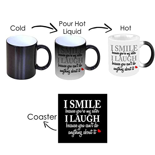 Giftsmate™ Birthday Bhaidooj Gifts for Sister Funny Teasing I Smile I Laugh Magic Mug for Sister