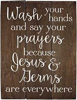 Elegant Signs Wash Your Hands and say Your Prayers Sign Bathroom Decor Wall Art Kitchen..