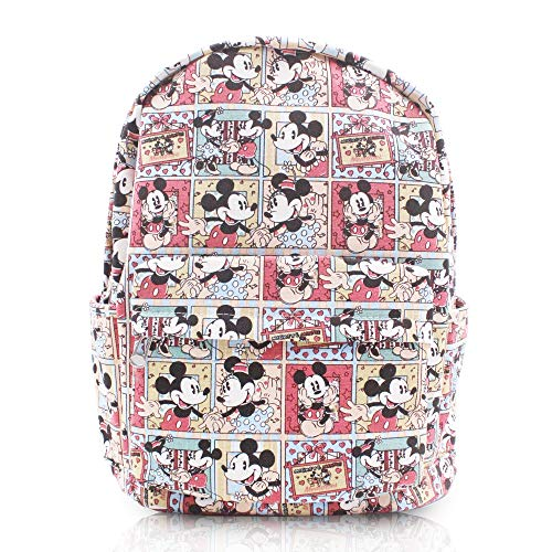 Finex Mickey Mouse & Minnie Mouse Comic Style Canvas Casual Daypack with 15 in Laptop Storage Compartment
