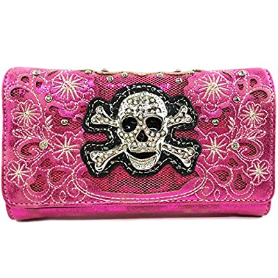 Justin West Rhinestone Skull Embroidery Floral Design Shoulder Chain Handbag and Wristlet Trifold Wallet Attachable Long Strap (Hot Pink Wallet)
