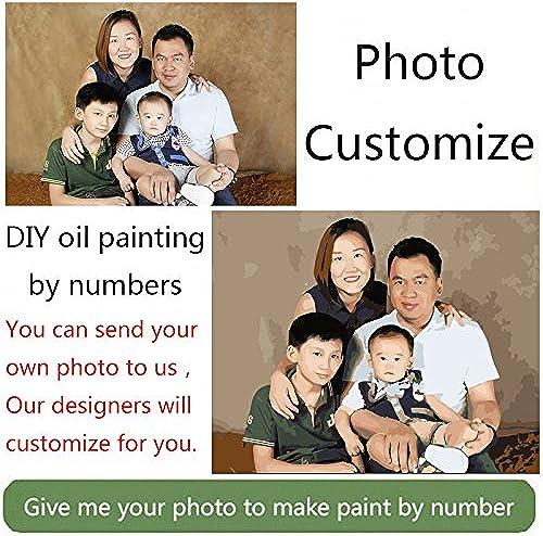 KYKDY Foto benutzerdefinierte machen Sie Ihre eigenen DIY- em e durch Zahlen Bild Zeichnung Leinwand Portr Hochzeit Familienfotos, 60X70CM