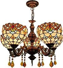 5 Head Chandelier European Retro Tiffany Stained Glass Lighting Living Room Dining Room Bedroom Bar Crystal Baroque Chande...