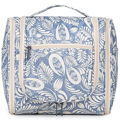 Bolsa de aseo colgante de viaje, organizador cosmético de maquillaje, para mujeres, niñas y niños, Blue Leaf (Large),