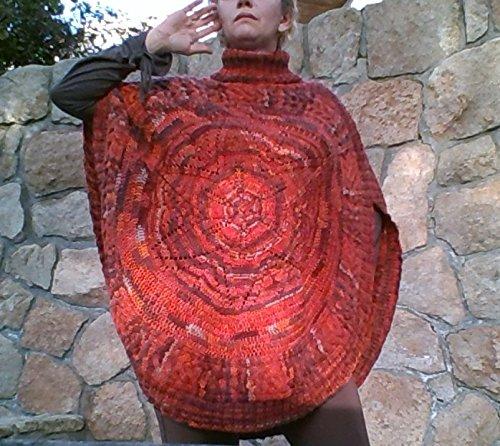 Ethnischer Stil handgestrickter Poncho, multicolor, Größe L-XL, Übergröße, für Frauen oder Mädchen