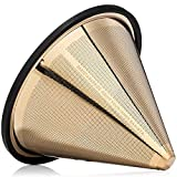 Barista Warrior Compatible with Hario V60 Pour Over Coffee Filters - Reusable Stainless Steel - Best Coffee Maker and Bar Accessories (Gold Titanium Coated)