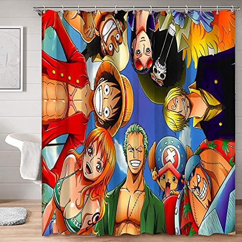 Elegante cortina de ducha de tela anime de una sola pieza de monkeyd.Luffy Roronoa Zoro Nami Nico·Robin Art Print tela decoración de baño 72 x 72 pulgadas (183 x 183 cm)