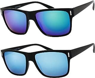 2 Pack Unisex Classic Rectangular Sunglasses for Men Retro UV400 Brand Designer Sun glasses