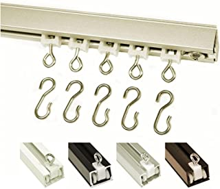 Ceiling Curtain Track Set with Wheeled Carriers, Hooks and Pinch Clips (4'-Silver)