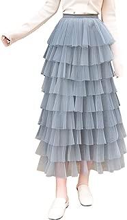 Itemnew Women's Sweet Elastic Waist Tulle Layered Ruffles Mesh Long Tiered Skirt